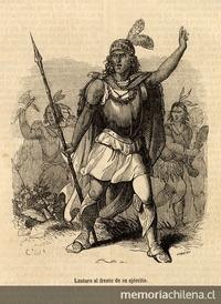 Lautaro al frente de su Ejército, hacia 1550