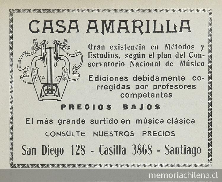 Casa amarilla 1932 memoria chilena biblioteca nacional Casa amarilla santiago