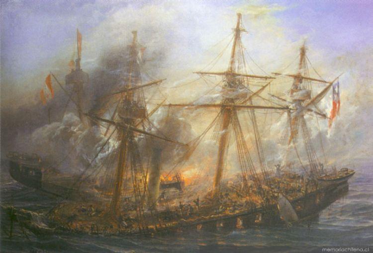 Combate Naval de Iquique en 1879, cuadro de Thomas Somerscales