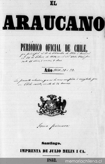 El Araucano: n° 1, 17 de septiembre de 1830
