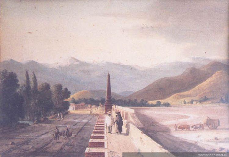 Vista de tajamar con una de las bajadas al lecho del río Mapocho, siglo 19