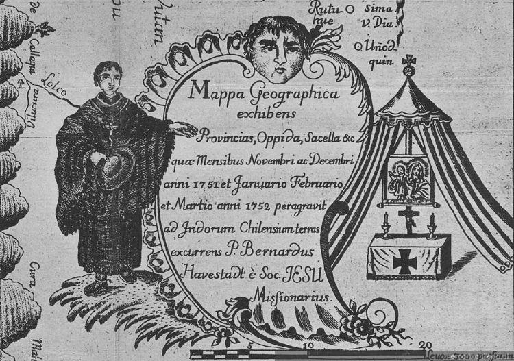 Misionero jesuita en la Araucanía, siglo 18
