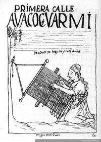 Mujer aymara tejiendo en un telar