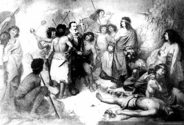 Últimos momentos de Pedro de Valdivia. Batalla de Tucapel