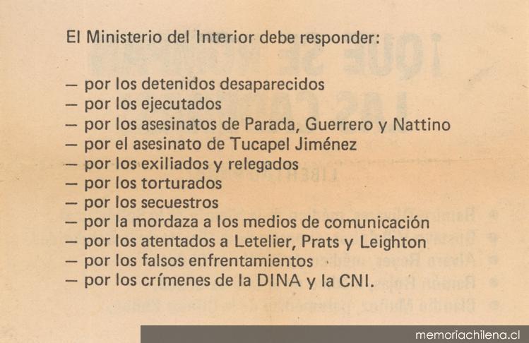 El Ministerio Del Interior Debe Responder 1983 1988