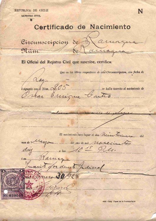 Certificado de Nacimiento] 1928 ene. 30 [de] Oscar Castro ...