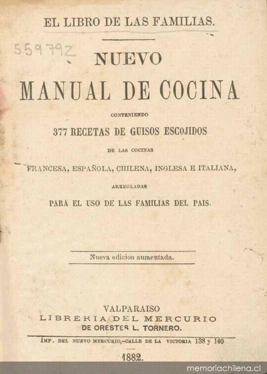 nuevo manual de cocina memoria chilena biblioteca