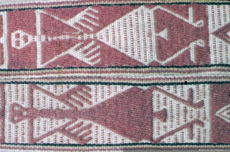 Detalle sobre cincha en tejido ñimin, ca. 1889