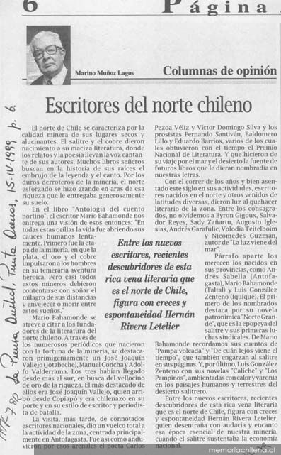 escritores chileno: