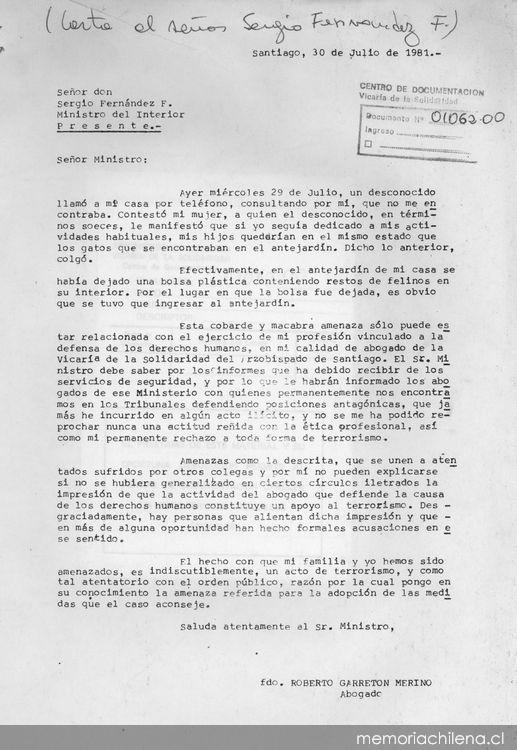 Carta al ministro del interior sergio fern ndez f for Notificacion ministerio del interior
