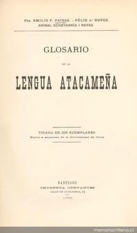 Glosario de la lengua atacameña