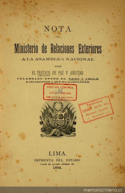 Nota Del Ministerio De Relaciones Exteriores A La Asamblea Nacional Sobre El Tratado De Paz Y
