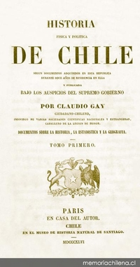 Documentos sobre la historia, la estadística y la geografía [de Chile]