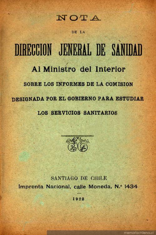 Nota de la direcci n jeneral de sanidad al ministro del for Ministerio del interior chile direccion