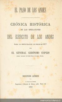 Crónica histórica de las operaciones del Ejército de los Andes para la restauración de Chile en 1817