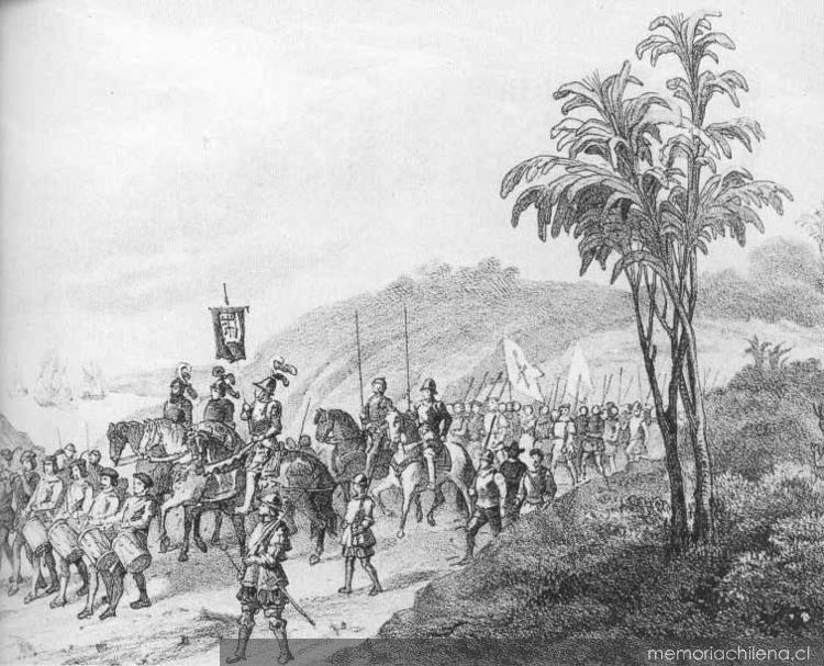 Pedro de Valdivia y su ejército hacia 1542