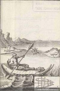 Dibujo y plano de una balsa de lobo marino, 1713