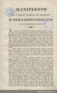 Manifiesto del Capitán General de Ejército Don Bernardo O'Higgins