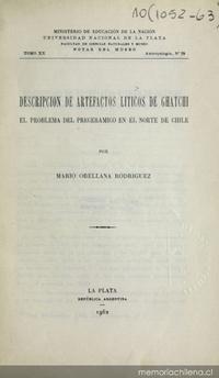 Descripción de artefactos liticos de Ghatchi: el problema del preceramico en el Norte de Chile