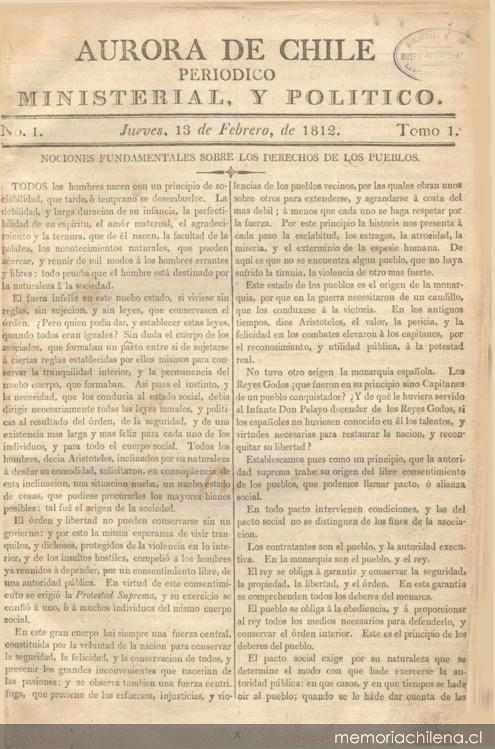 Aurora de Chile : periódico ministerial, y político
