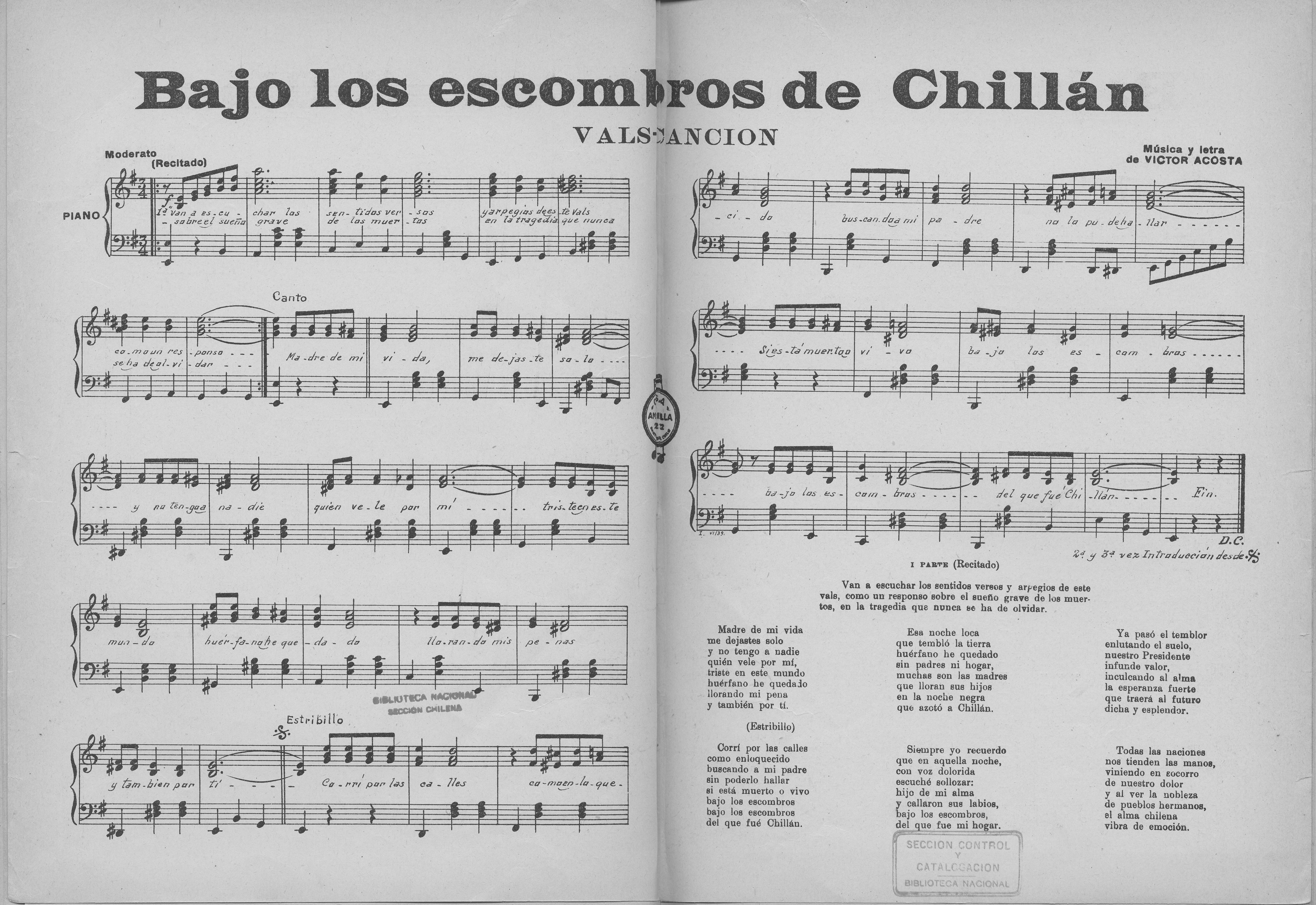 Bajo los escombros de chill n m sica vals canci n para for Casa musica chile