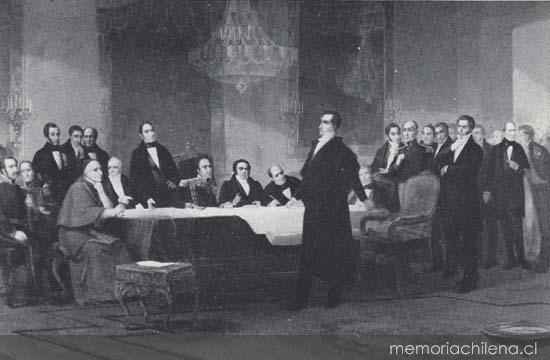 Diego Portales expone ante los notables en 1836, la situación de Chile ante la Confederación Perú-Boliviana