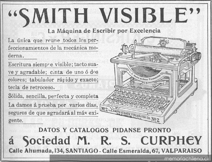 """Aviso Publicitario De Máquina De Escribir """"smith Visible"""