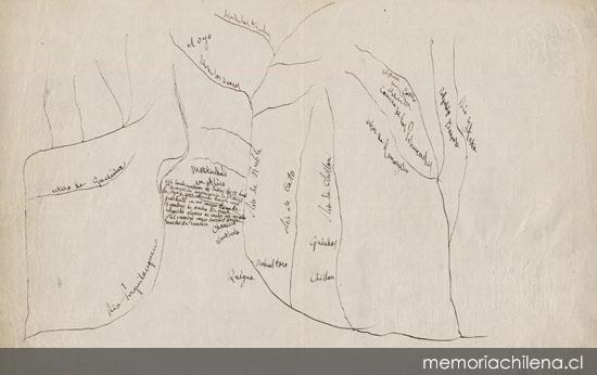 Croquis de zona entre los ríos Perquilauquén e Itata, hacia 1840